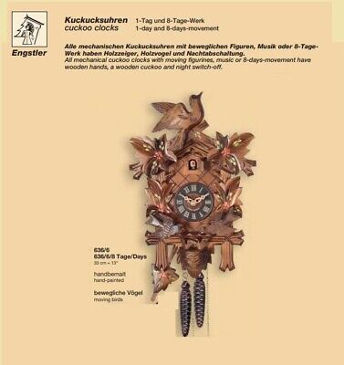 New Original Engstler Black Forest Chalet Cuckoo Clock with moving birds