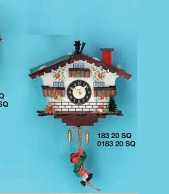 New Engstler Black Forest Mini Chalet cuckoo Clock with moving chimney cleaner