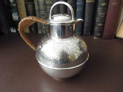 Early 20th c Silver Plate Jug  With Tooled Decoration & Rattan Handle 2 Pts