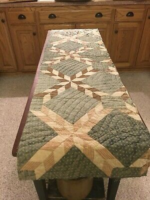 Mopast Antique AAFA indigo blue calico quilt table runner X primitive star fade2