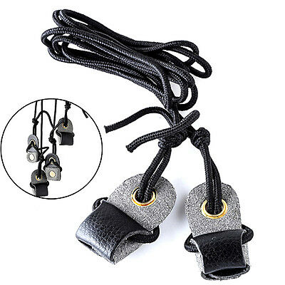 Archery Recurve Bow String Long bow Stringer Black Leather Rope Tool  DHI