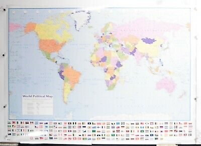 MAP OF THE WORLD  POSTER   (POLITICAL WORLD MAP WITH FLAGS)NOS (b657)