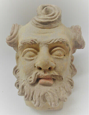 Circa 200-300Ad Ancient Gandharan Stucco Statue Fragment Head Of Buddha Rare