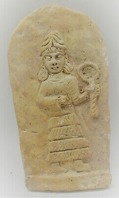 Rare Ancient Near Eastern Clay Panel With Depiction Of Worshipper 3000-2000Bce