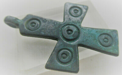 Superb Ancient Byzantine Bronze Crusaders Cross Amulet Wearable Item