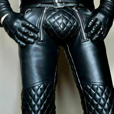 Mens Real Cowhide Leather Pants Punk Kink Jeans Trousers BLUF Pants Bikers