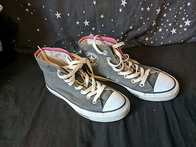 CONVERSE ladies girls Fold High top Grey pink skull print trainers UK 4