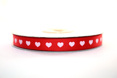 Grosgrain Ribbon With White Hearts 10mm Wide, Various Colours 2m & Full Roll