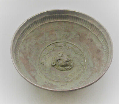 Beautiful Roman Era Near Eastern Silver Bowl With Depiction Of Lion Face