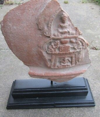 Circa 200Ad Gandharan Terracotta Temple Wall Relief Panel Section Very Rare