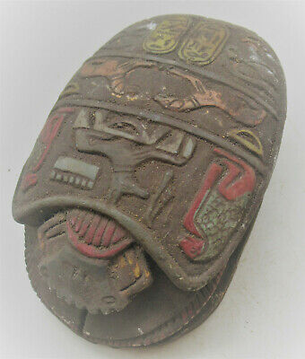 Scarce Circa 500-400Bc Ancient Egyptian Stone Carved Scaraboid Very Large