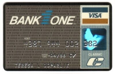 Bank One (Comp-U-Store) (Banc One Corp) Classic VISA Credit Card Exp 04/88