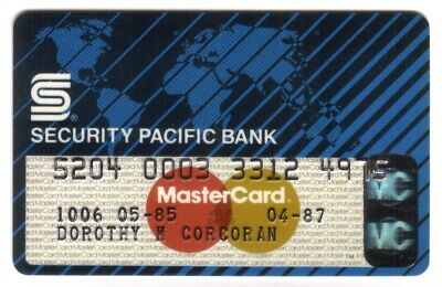Security Pacific Bank (SPNB) MasterCard Credit Card Exp 04/87