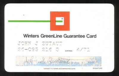 Winters GreenLine Guarantee Card - Winters National Bank & Trust Co. Exp 4/71