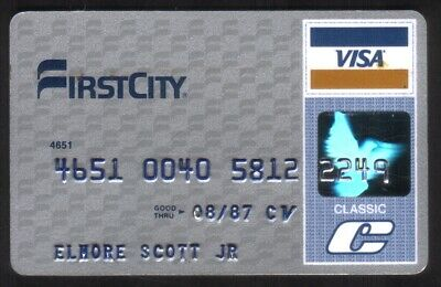 First City Bank Classic VISA Credit Card Exp 08/87