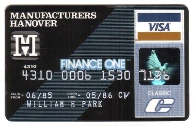 Manufacturers Hanover Finance One Classic VISA Credit Card Exp 05/86
