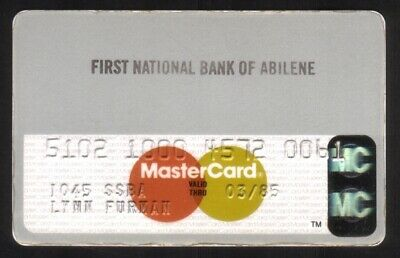 First National Bank of Abilene MasterCard Credit Card Exp 03/85 (Faded Printing)