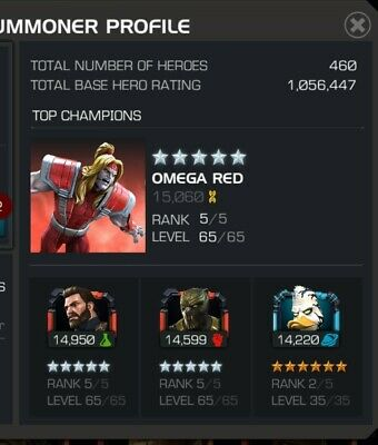 Marvel Contest Of Champions account + email. 1m + rating. Cavalier tittle.4 AG's