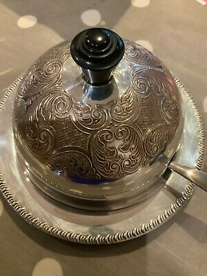 Vintage Epns Silver On Copper Covered Round Butter Dish Glass Liner And Knife