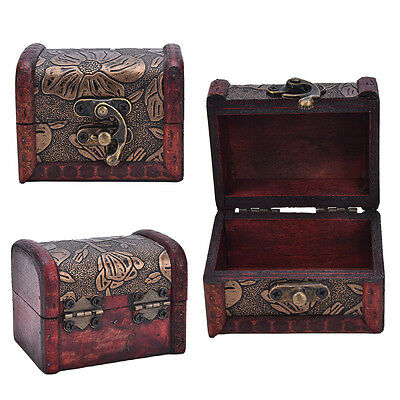 Wooden Vintage Treasure Chest Wood Jewellery Storage Box Case Organiser Ring HI