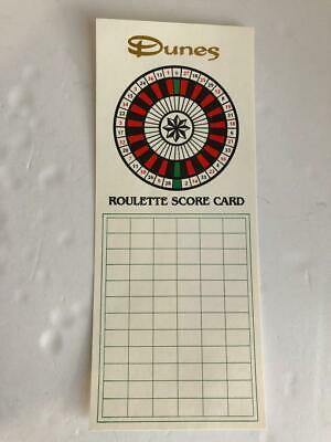 Dunes Hotel Casino & Country Club Las Vegas Roulette Score Card