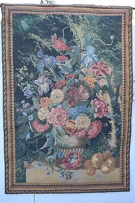Antique Bouquet flowers butterfly fruits Jacquard Woven Wall Tapestry Large