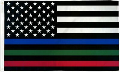 USA THIN BLUE RED GREEN LINE FLAG Police - Fire - Military FREE SHIP 3X5FT