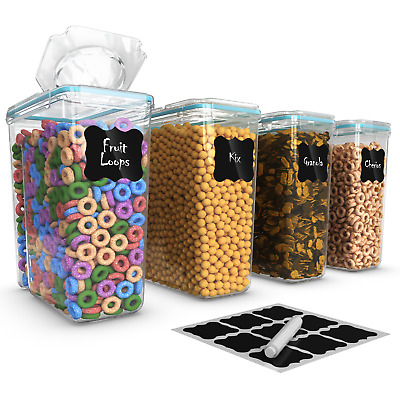 Set of 4 Cereal & Dry Food Storage Container (16.9 Cup/135.2oz)