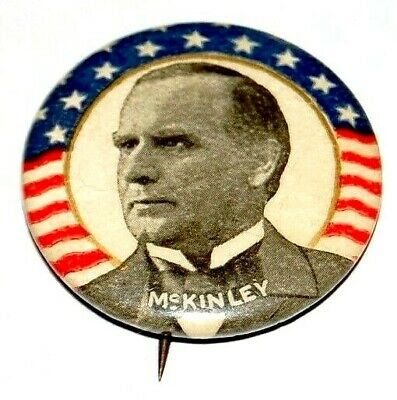 "1896 WILLIAM MCKINLEY 1.25"" campaign pin pinback button political presidential"