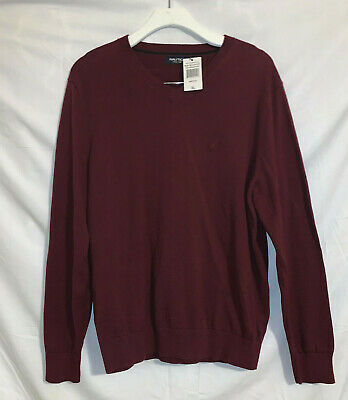 NWT Mens Nautica Maroon Jersey Cotton Navtech V-Neck Sweater Size XL