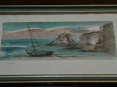 Antique Seascape Painting Nautical Landscape Fishing Boats Seascape Signed