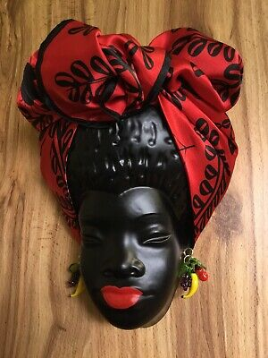 VINTAGE REPRO Plaster CHALKWARE BLACK LADY Wall Art FRUIT SALAD Barsony Inspired