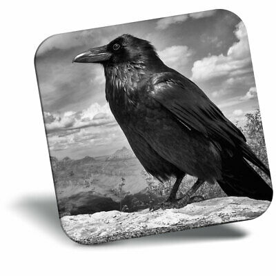 Kitchen Student Quality Gift #8109 1 x Black Raven Crow Bird Glass Coaster