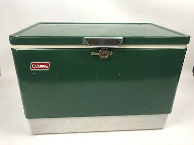 Vintage Coleman Metal Cooler Ice Chest Large Green Old Camping 22x15x13  1978