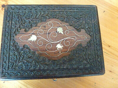 Superb quality antique Anglo Indian carved brass inlaid hard wood box with key