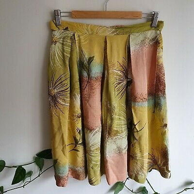 Vintage 40s 50s Floral Full Rayon High Waisted A-line Pleated Skirt S-M Handmade