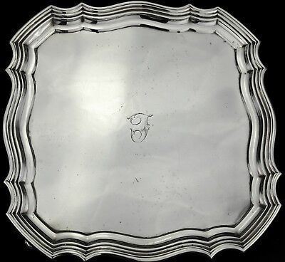 Antique Solid Sterling Silver Salver / Tray / Waiter - London 1919, 455g.