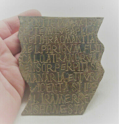 Ancient Roman Military Diploma Plaque Fragment Important Inscriptions 200-300Ad