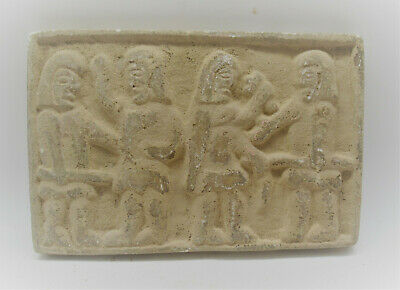 Rare Ancient Roman Near Eastern Stone Plaque Scene Of Soldiers 100-200Ad