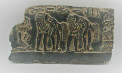 Scarce Ancient Egyptian Black Glazed Stone Relief Panel With Heiroglyphs Superb