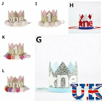 Boy Girl Princess Crown Birthday Hat Glitter Number Hair Band 1st Birthday HOT!!
