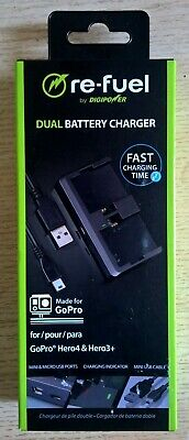 Digipower Re-fuel Dual Battery Charger for GoPro Hero 4 & Hero 3+