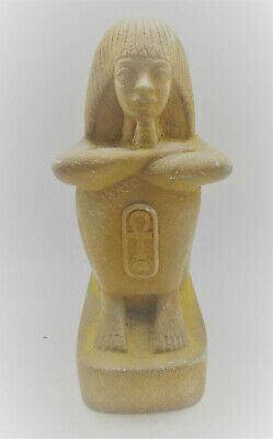 Superb Antique Egyptian Glazed Stone Statue Seated Pharoah With Key Of Life