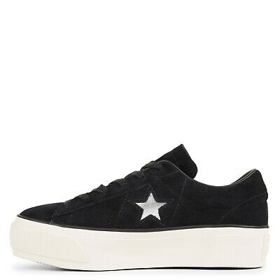 CONVERSE ONE STAR Platform SUEDE Leather Black Silver White