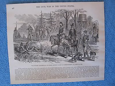 1885 Civil War Print- Voluntary Dispersion of Kirby Smith's Army,Shreveport 1865
