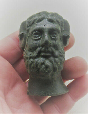 Scarce Ancient Roman Bronze Statue Fragment Head Of Male Biblical Figure 200-30S