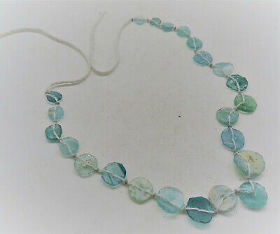 Beautiful Ancient Roman Glass Bead Necklace Recut Glass 200-300Ad