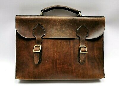 VINTAGE SOFT BROWN LEATHER Briefcase Suitcase Carry Doctors Bag Distressed Prop