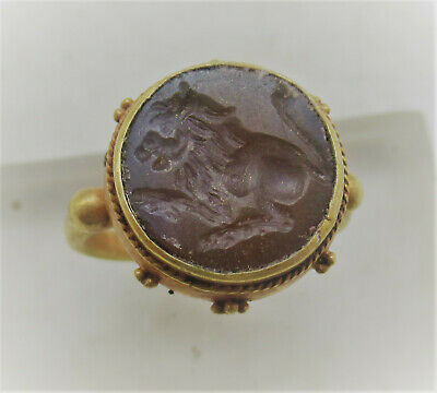Scarce Ancient Roman High Carat Gold Ring With Carnelian Intaglio Beast