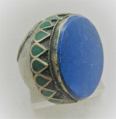 Superb Late Medieval Ottomans Silvered Seal Ring With Lapis Stone And Enamel